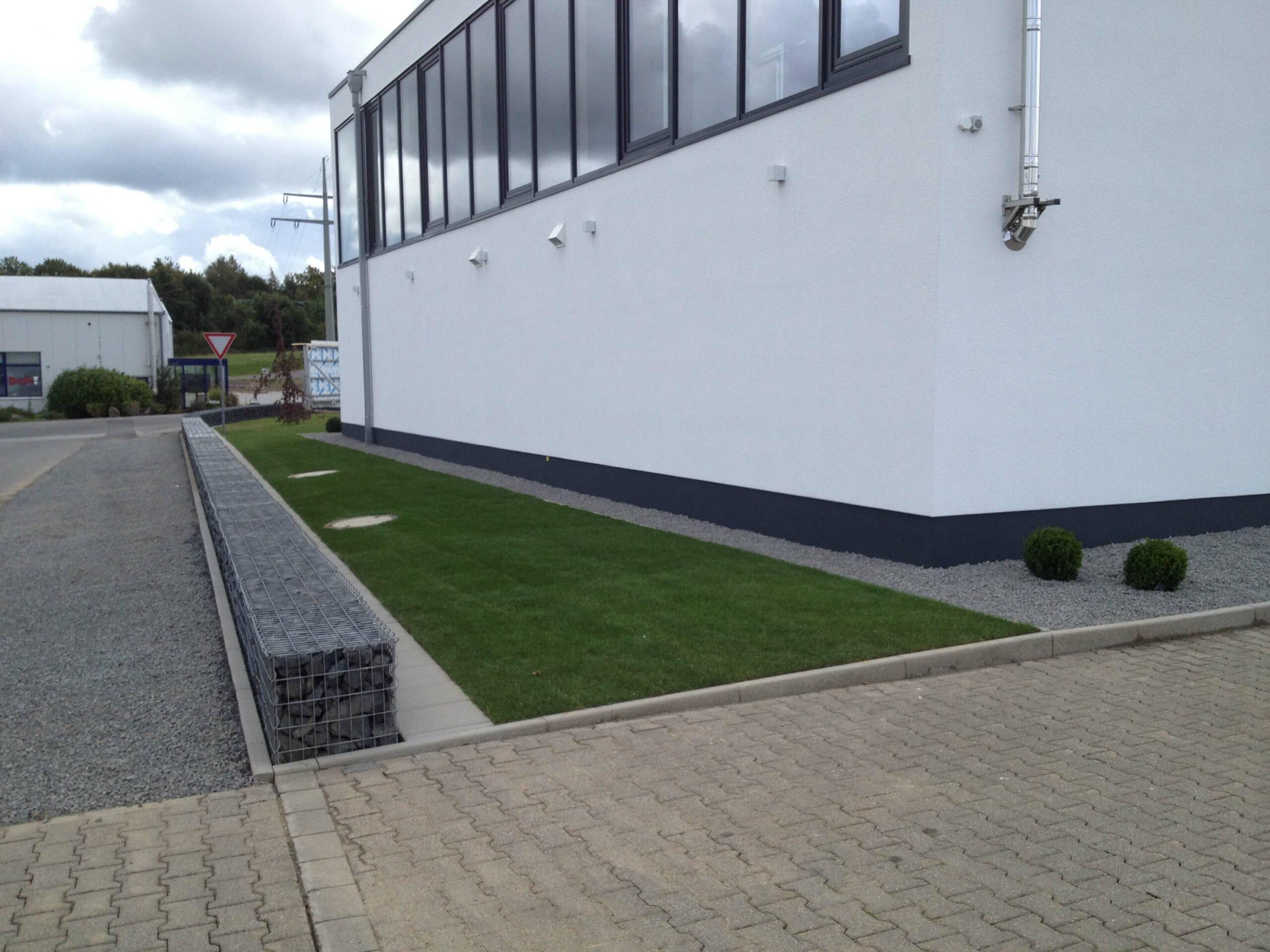 Neugestaltung Außenanlage mit Rollrasen, Mähkante und Gabionenmauer