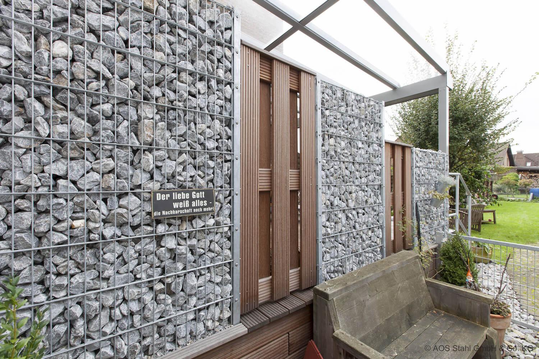 Schacht garden A1 ZaunPartner Gabionenzaun-System Doppelpfosten mit Fussplatte 2